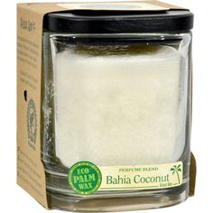Aloha Bay Candle - Jar Bahia Coconut - 8 oz - ALOHA JARS - PERFUME BLENDS WITH ESSENTIAL OILS Aloha Jars are the worlds first Rainforest Alliance certified candle line made of Eco Palm Wax sourced from certified organic palm groves in South America. Eight ounces each. Burn time is 40 hours. The decorative black wooden lid serves as a base for the jar. Just place the lid upside-down on your table and position the jar on top of it. Double cotton wicks for clean and steady burn. Post-consumer…