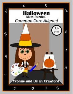 Halloween Common Core Math Puzzles - 5th Grade