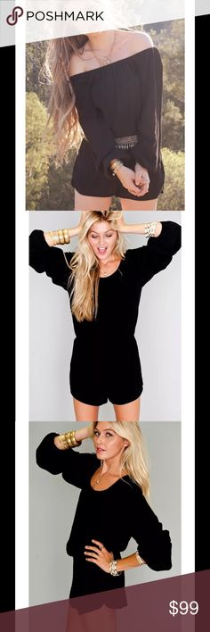 Show Me Your MUMU Black Rane Romper Playsuit $168 Show Me Your MUMU Black Rane Romper Playsuit Sz S  Show off your best assets.  Featuring an off the shoulder neckline with elastic, long sleeves with elastic cuffs, an elastic waistband and butterfly shorts. Because of elastic neckline, it can be worn both on or off the shoulder. Whatever your mood desires!  Bodice, sleeves unlined. Shorts lined.  Made in USA 100% Chiffon Polyester Accessories sold separately.    Retailed at $168 Show Me Your…