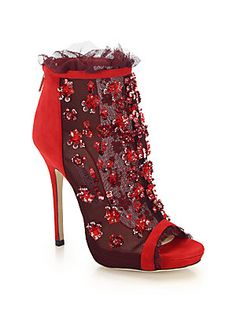 Jimmy Choo Keri Embroidered Mesh & Suede Booties  AED 9066.21