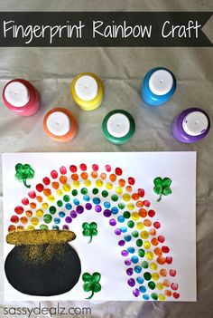 Fingerprint Rainbow Pot of Gold Craft For St. Patrick's Day - Crafty Morning