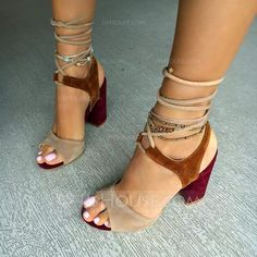 [62.95 €] Femmes Suède Talon bottier Sandales avec Dentelle chaussures