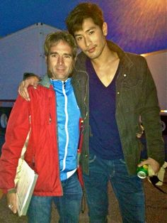 The true bromance of the Mortal Instruments set is Godfrey and SIDEBURNS GUY! (This is not Godfrey in his Magnus costume, just in regular clothes on the set. He still looks ridiculously handsome of course. To The Bone Movie, Constantin Film, Godfrey Gao, Will Herondale, Sideburns, The Dark Artifices, City Of Bones, The Infernal Devices, Cassandra Clare