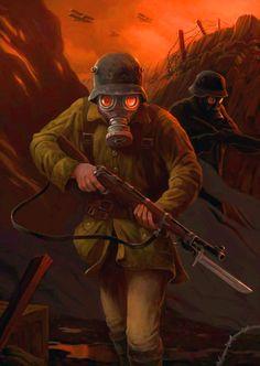 WWI art: German troops clearing a trench Military Art, Military History, Modern History, Art History, Ww1 Battles, Vespa Illustration, Ww1 Art, Military Drawings, Drawn Art