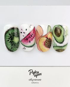 Food Nail Art, Fruit Nail Art, Nail Art Designs Videos, Popular Nail Designs, Nail Art Wheel, Almond Nails Designs, Minimalist Nails, Best Acrylic Nails, Discount Jewelry