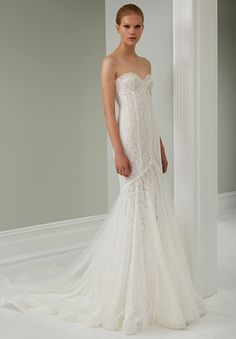 Strapless lace wedding dress with a slight mermaid and train. STEVEN KHALIL 2015 RTW COLLECTION