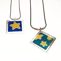 Hand made silver and enamel pendants by Abby Filer available at Franny & Filer jewellery shop in Chorlton - www.frannyandfiler.com - £45 each