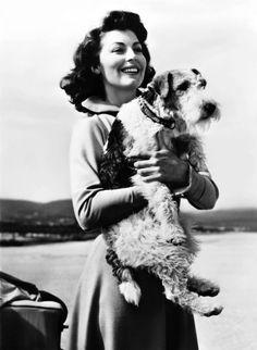 Ava Gardner! With a fox terrier!