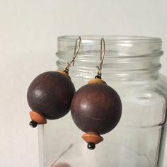 Vintage Dangle wooden Beaded Earrings Vintage Earrings Brown   Etsy Wooden Jewelry, Wooden Beads, Pink Fruit, Stripe Pants, Fruit Print, Bead Jewellery, Hippie Jewelry, Beaded Rings, Pants Outfit