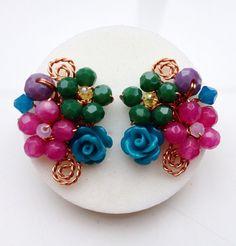 Bridesmaid earrings  Stud cluster earrings  stone by PastelGems