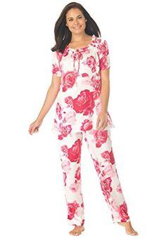 614337644b9 Amoureuse Women s Plus Size Satin Peasant Trapeze Pj Set at Amazon Women s  Clothing store  Plus