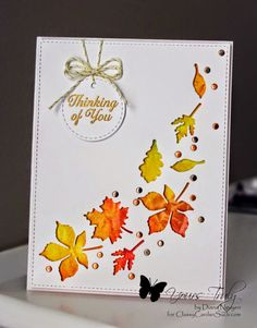 Diana created a beautiful card of Falling Leaves.  To see more of her card and get the details at http://classycardsnsuch.blogspot.com/2014/10/falling-leaves.html