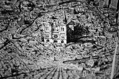Ben Sack  realiza un detallado dibujo hecho únicamente con tinta