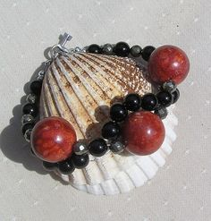 Crystal Gemstone Wave Bracelet Black Onyx Sponge by SunnyCrystals