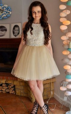 Homecoming Dresses,Jewel Homecoming Dress,Lace Homecoming Dresses,Champagne ,Short