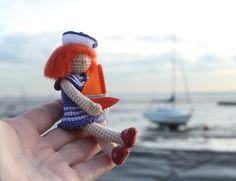 Girl and a sailboat. Crochet art doll. Handmade by FancyKnittles, ☆ lovely doll