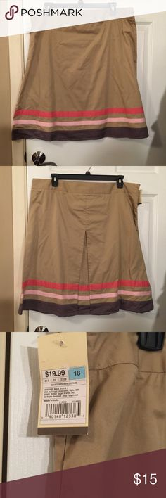 Tan Skirt with Pink Stripes NWT! Tan skirt with pink stripes at the bottom. Merona Skirts