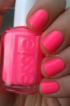 Essie Punchy Pink - need this color! Have it in a cheap nail polish that doesnt stay on very good! Essie stayed on my nails with out chipping for almost 2 weeks! Love Nails, Pink Nails, How To Do Nails, Pretty Nails, My Nails, Pink Toes, Neon Nails, The Beauty Department, Nail Swag