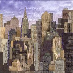"Ludmila Aristova's ""Sunrise in New York"" wallhanging. Amazing. Love the pleated fabric giving a 3D effect."