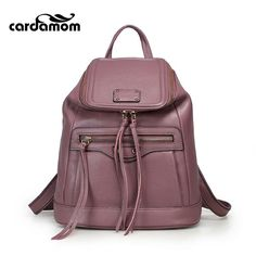 f4473db987 Cardamom Genuine Leather Backpacks 2017 Cow Leather Famous Brand Women s  Bags Girls Fashion Bag Travel Bags