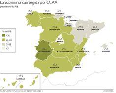 Porcentaje del PIB en Economia Sumergia por CC.AA. España 2013   https://scontent-b-mad.xx.fbcdn.net/hphotos-prn2/t1/1510886_10151877275947001_1479303060_n.jpg