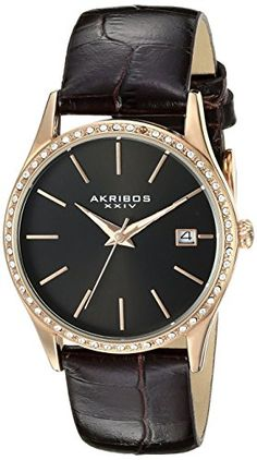 Women's Wrist Watches - Akribos XXIV Womens AK883BKR Round Black Dial Three Hand Quartz Rose Gold Tone Strap Watch * See this great product. (This is an Amazon affiliate link)