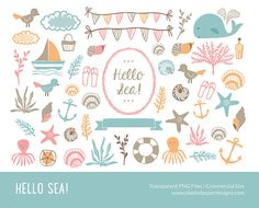 Hello Sea Clip art SEA & NAUTICAL CLIPART by PixeledPaperDesigns, $4.20