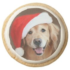 Golden Retriever With Santa Hat Round Premium Shortbread Cookies by #AugieDoggyStore. Choose either round or square shapes. Come in a pack of 4 or 12.