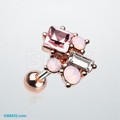 Rose Gold Ina Opalite Sparkle Cluster Cartilage Tragus Barbell