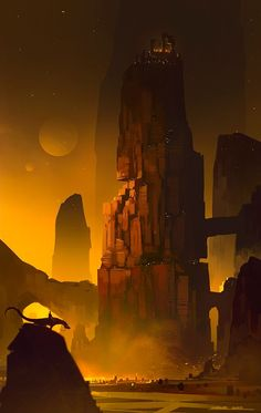 Concept Art by Horhe ( The Kingdom of Ruyalen would be much like this, built into and out of the mountain itself. A neighboring spire would be hollowed out to be a guard tower. )