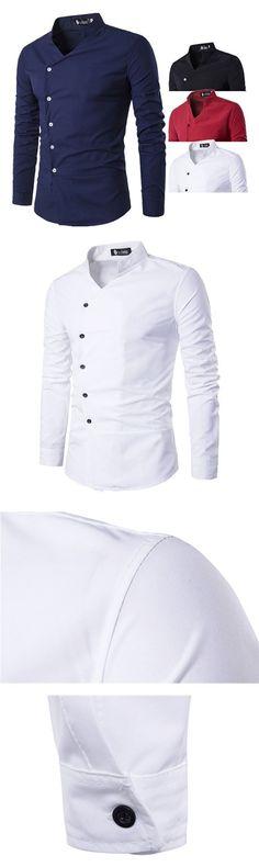 US$16.33 (47% OFF) Slim Fit Designer Dress Shirt for Men: Long Sleeve / Patchwork Bust Plaid Pocket / Turn Down Collar