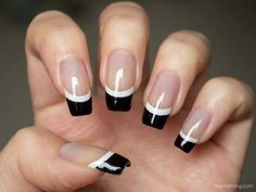 Black French Nail Art Design1 Black French Tip Nail Art Designs For Stunning…