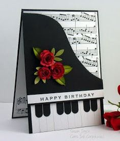 Corporated: Grand Piano The post Cat& Ink.Corporated: Grand Piano appeared first on Birthday. Handmade Birthday Cards, Happy Birthday Cards, Greeting Cards Handmade, Music Greeting Cards, Musical Cards, Tarjetas Diy, Bday Cards, Shaped Cards, Flower Cards