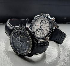 [Omega Speedmaster] Night and Day speedies on black straps (x-post r/watches) : Watchbands Omega Speedmaster Watch, Omega Seamaster, List Of Brands, Watches For Men, Men's Watches, Nato Strap, Day For Night, Watches Online, Watch Bands