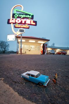 Kurt Moses takes awesome photos of miniature people and models in real world locations. From http://www.unpetitmonde.net/