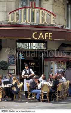 Le Lutece is a french cafe found on Saint Michel Boulevard in the Latin Quarter. Sidewalk cafes are popular in France for people watching and romantic dates. Paris  France.