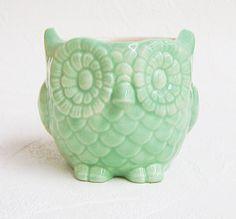 Ceramic Owl Pottery Planter Soft Mint Green Vintage Design Decor for Home or Office