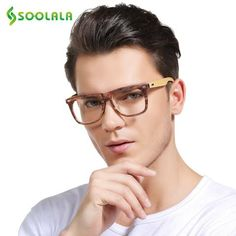 b115e0c4bd SOOLALA Oversized Wood Bamboo Frame Mens Reading Glasses Full Rimmed Ladies Presbyopia  Reading Glass Eyeglasses +