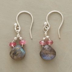 """Like cherry blossoms heralding spring, rose quartz rondelles bloom atop labradorite briolettes. Sterling silver French wires. Exclusive. Handcrafted in USA. 1""""L."""