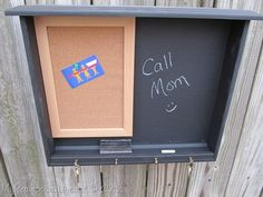 desk drawer repurposed into chalkboard memo center