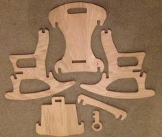 Child-Sized Puzzle Rocking Chair with Key Lock by FabLabTacoma Plywood Furniture, Furniture Plans, Kids Furniture, Wooden Projects, Wood Crafts, Diy Projects, Woodworking Plans, Woodworking Projects, Cnc Wood