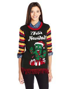 Ugly Christmas Sweater Juniors Light-Up Feliz Navidad Cactus Pullover  Fringe - Evergreen - C512KH9LMXT 13b3a76ef239