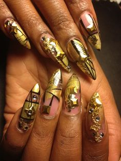 Day 313: Abstract Golden Nail Art - NAILS Magazine