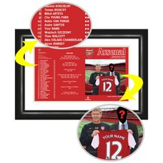 Arsenal Personalised Match Day Programme Your name and photograph alongside Wenger as you Sign for Arsenal.    This is our flagship product and has received some fabulous reviews. We reproduce the official Arsenal Match Day Programme cover putting your name in the squad list and onto the shirt held by Arsene Wenger. Our photo manipulation experts merge your face onto the body of the player accompanying Arsene Wenger. Framed and mounted in a stylish black contemporary frame. Ramsey Aaron, Arsenal Gifts, Arsenal Match, Theo Walcott, Mikel Arteta, Van Persie, Arsene Wenger, Contemporary Frames, Arsenal Football