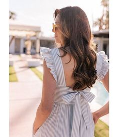 Gal Meets Glam Collection Jasmine Tie Back Stripe Midi Dress - Summer Dresses Modest Dresses, Modest Outfits, Simple Dresses, Casual Dresses, Cool Outfits, Fashion Dresses, Summer Dresses, Maxi Dresses, Simple Dress Casual