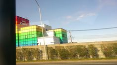 A quick capture of a multi coloured hotel on the motorway, The blocks and colours make it look like a rubix cube and it really stood out.