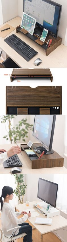 Wood Monitor iMac Stand Stationery Office Desk Organizer Pen Pencil Holder iPad Cell Phone Charging Station Dock Holder Business Card Display Stand Holder Paper Clip Holder Collection  Charge Cord Cable Organizer Management System Over the Keyboard