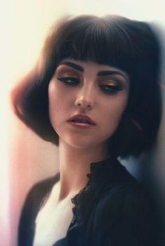 """Introspect"" - Pǝdro Molina Cisnǝros {figurative realism art beautiful female head woman face portrait cropped digital painting}"