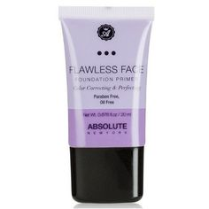 Shop Flawless Face Foundation Primer - Lavender by Absolute New York. Features a sheer green tint to help visibly neutralize redness, and correct discoloration. Too Faced Foundation, Flawless Foundation, Foundation Primer, Flawless Face, Makeup Primer, Color Correction, Lavender, Personal Care, Bottle