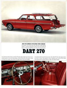 A free gallery of old car brochures from 1903 to Retro Cars, Vintage Cars, Antique Cars, Vintage Auto, Vintage Ideas, Classic Chevy Trucks, Classic Cars, Dodge Wagon, Dodge Dart Gt